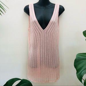 Witchery Soft Pink Sleeveless Beaded Tank Top Cami